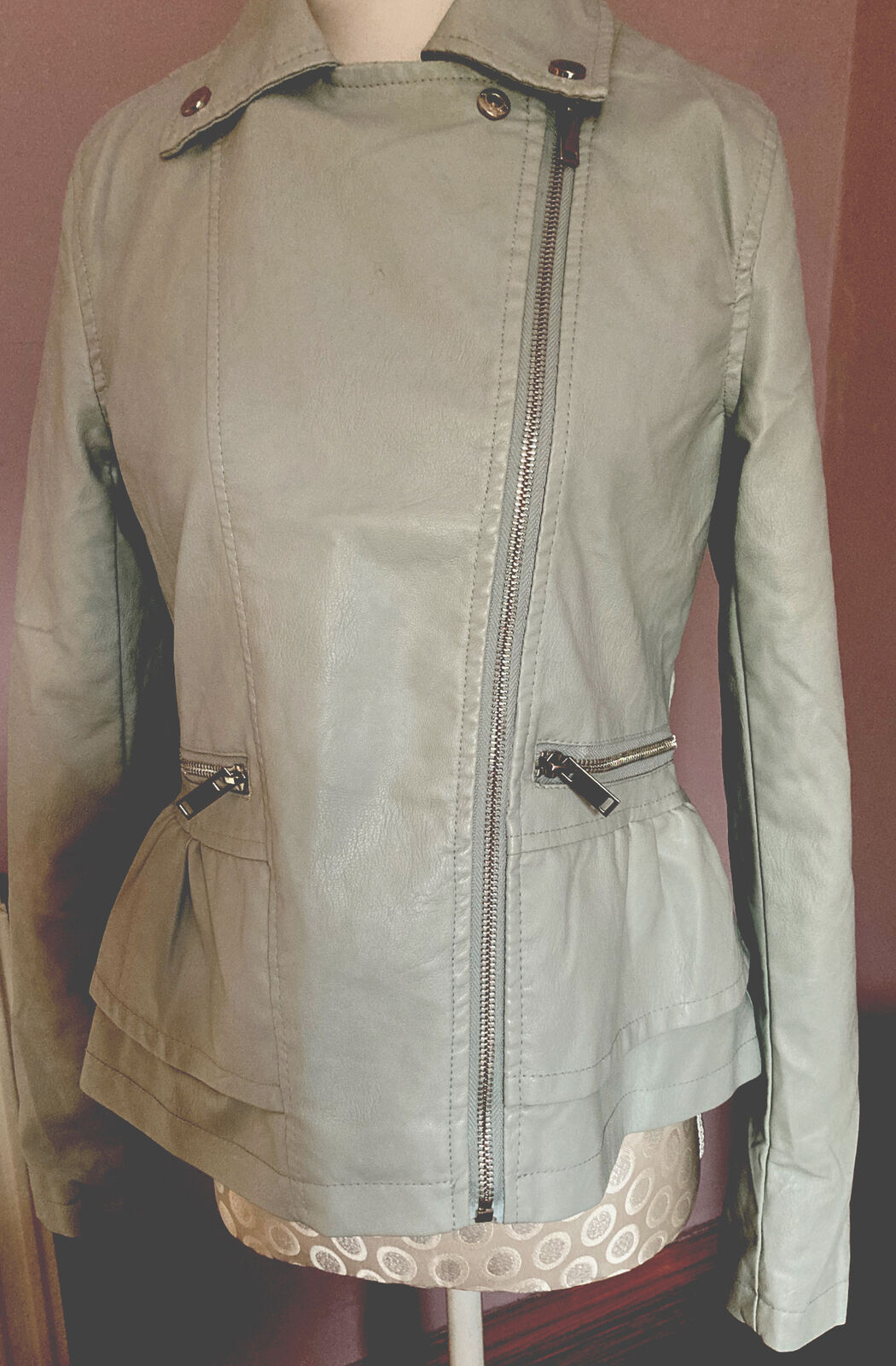 Boo Hoo Fake Leather Jacket Pale Green 10 Zip Pockets Biker Style V G Condi