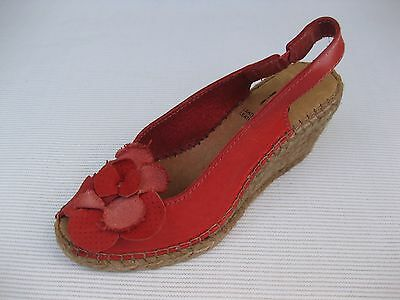 Azura Womens Shoes $130 NEW Flashback Red Leather Wedge Espadrille 35 5