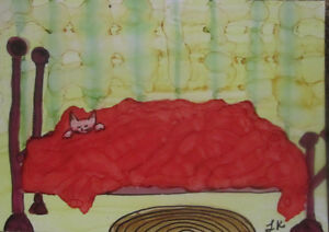 ACEO GOLDFISH Red /& White Art PRINT of Painting by VERN