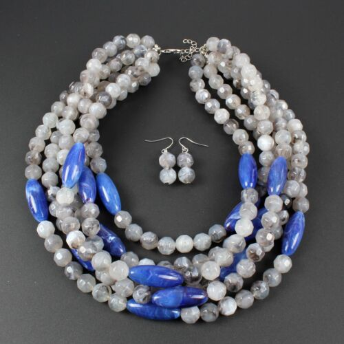 Fashion Statement Acrylic Chunky Chain Necklace Vintage Resin Choker Pendant Set