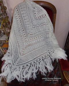 Chale Crochet Simonetta Blanc Casse Creation Couture Sylvette Raisonnier * Une Grande VariéTé De Marchandises