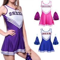 Purple Pink Blue High School Cheerleader Girls Uniform Costume Outfit + Pom Poms