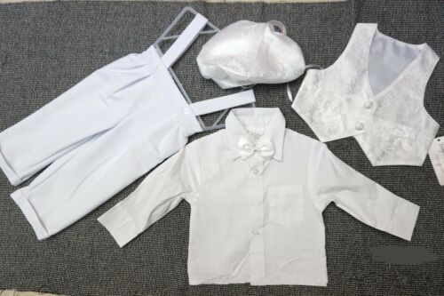 Boys baby cotton white Long sleeves christening shower outfits suits 4 pcs set