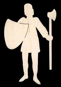 Knight-w-Shield-amp-Axe-Unfinished-Craft-Wood-1617