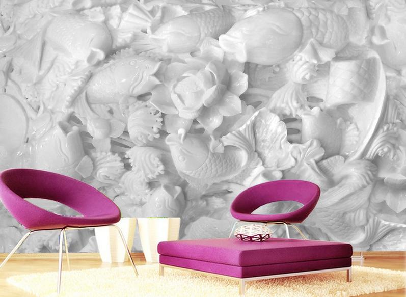 3D Weißer Karpfen Lotus 86  Tapete Wandgemälde Tapete Tapeten Bild Familie DE