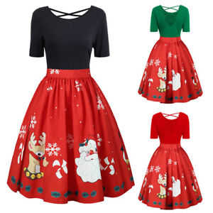 Womens-Christmas-Party-Dress-Ladies-Short-Sleeve-Plus-Size-Prom-Swing-Dresses-GE