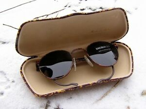 VINTAGE-LUXOTTICA-ITALIAN-MILITARY-ARMY-STYLE-SUNGLASSES-Brown-Metal-Multi