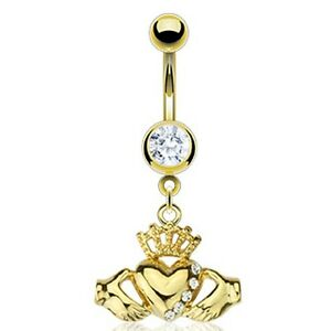 Gold-Plated-Stainless-Steel-Multi-CZ-Dangle-Claddagh-Belly-Bar-Navel-Ring