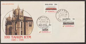(F119X)MALAYSIA 1985 100 YEARS OF KTM (RAILWAY) UPLAND SARAWAK FDI CDS FDC