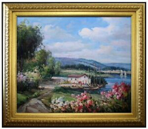 Framed-Quality-Hand-Painted-Oil-Painting-Lakeside-Cottage-20x24in