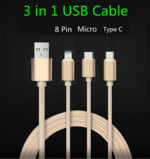 Universal 3 in 1 Multiple USB Charging Micro Cable For Type-C iPhone Android