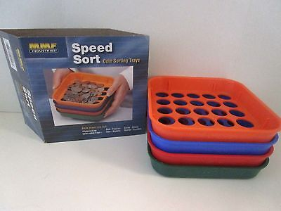 MMF Industries Speed Sort Coin Sorting Trays 4 Color-Coded Trays for Pennies th