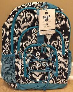 NEW Pottery Barn Teen Gear-Up CHANDELIER DAMASK Backpack BLACK TEAL