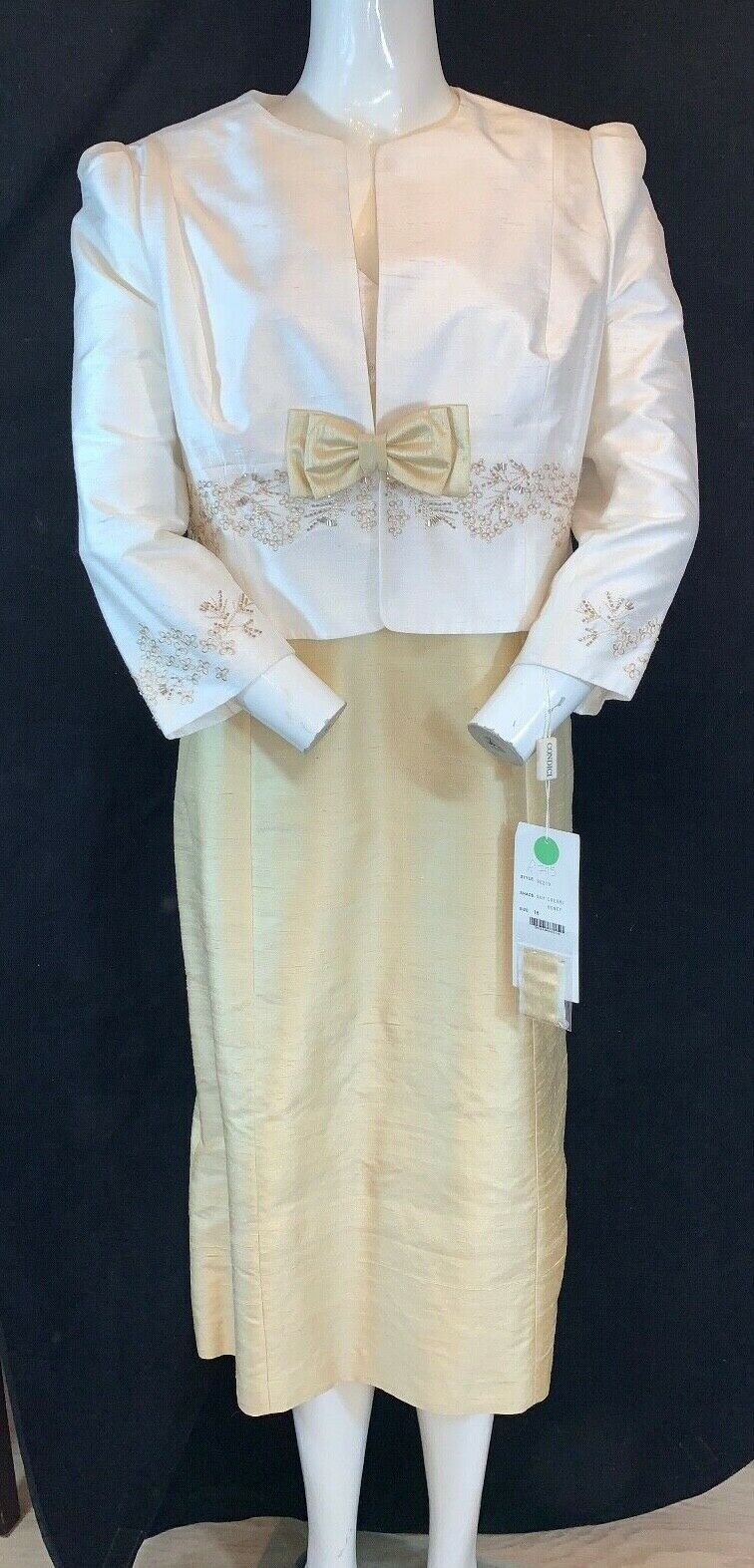 BNWT CONDICI 90219 Cream/Honey Shift Dress & Jacket.100% Silk. Mother Bride UK16