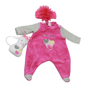 0cc85f2b80c6 Striped Rompers Toy Headband Clothes for 16-17 Inch Reborn Baby Girl ...