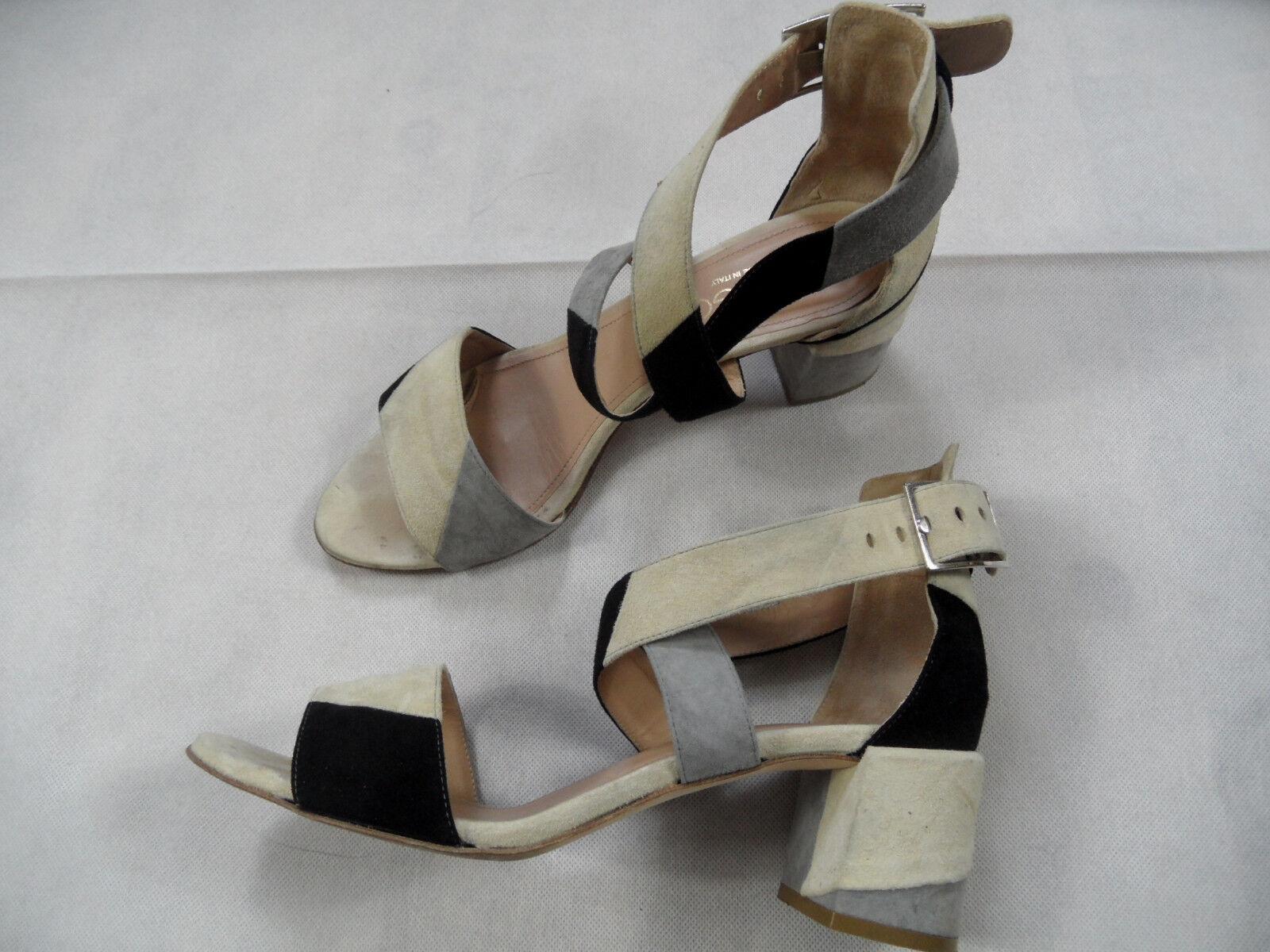 PREGO stylische Sandaletten Blockabsatz Nubukleder multicolour Gr. 41 TOP SJ718