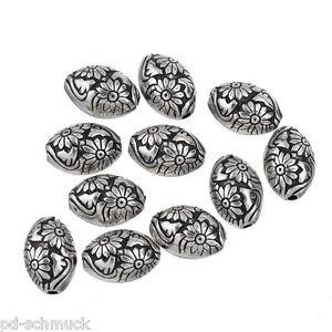 P-10-alter-Silber-Acrylperlen-Oval-Beads-Kunststoffperlen-Spacer-Blumen-1-4x1cm