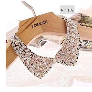 lady-womens-Detachable-Sequins-Faux-Pearls-Flower-False-Fake-Collar-Neck-lace