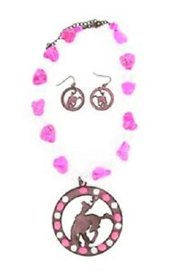Western-Charm-Large-Pink-Rodeo-Rhinestone-Cowgirl-Bling-Necklace-Earring-Set-NWT