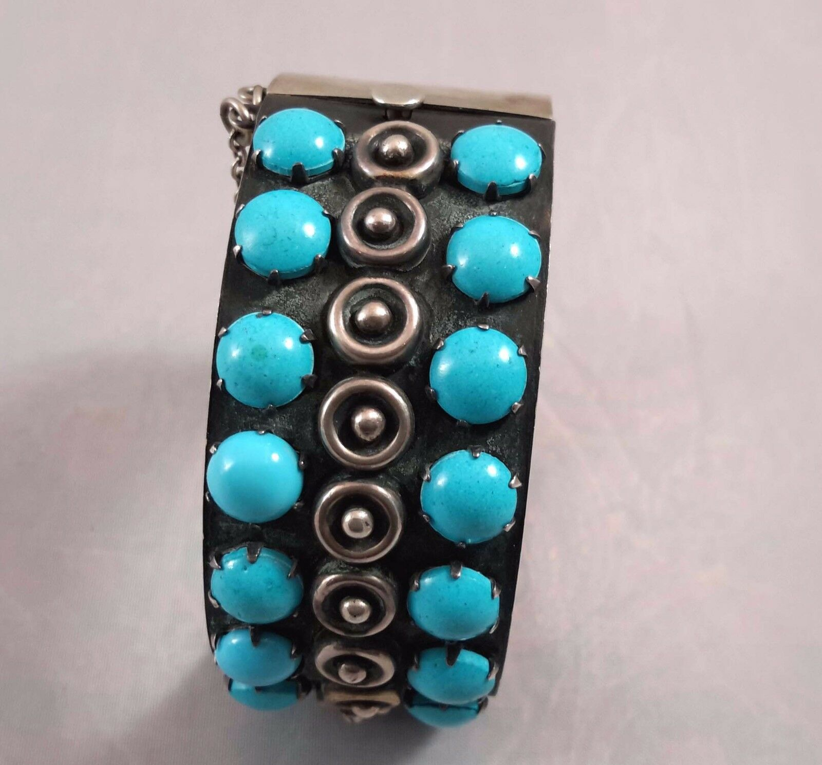 MID CENTURY MODERN STERLING SILVER TURQUOISE BRA… - image 2
