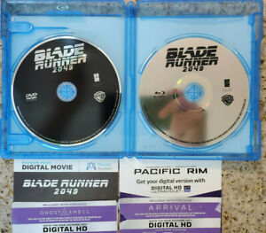 4x CODES: BLADE RUNNER 2049+GHOST IN SHELL 2017+ARRIVAL+PACIFIC RIM w BR Blu-ray