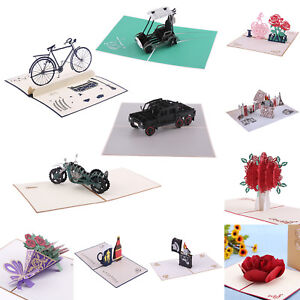 3D-Pop-Up-Paper-Cut-Greeting-Card-Postcard-Flower-Birthday-Invitation-Card-Gift