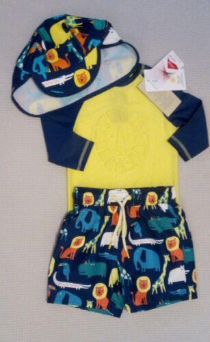 BNWT M/&S Boys UPF 50 Sunsafe UV Sun Swimsuit Shorts Rash Vest Hat Set 2-3 years