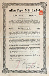 Alders Paper Mills Limited /> 1928 British India bond certificate