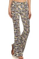 Palazzo Paisley Print Bell Bottom Pants Flared Stretch Skinny Fit S M L Xl