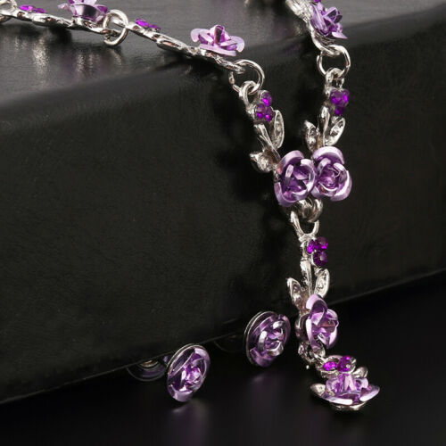 Charm Womens Necklace Earring Set Wedding Bridal Jewelry New Chic Rose Pendant