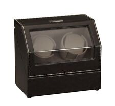 Diplomat Black Leather Double Watch Winder with Gray Microfiber Suede Interior