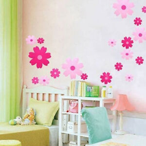 Pink flowers home decor girl childrens roomnursery wall sticker image is loading pink flowers home decor girl children 039 s mightylinksfo