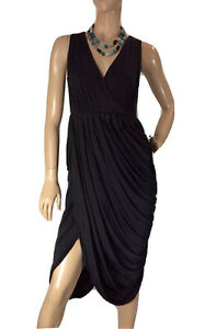 LANGHEM-BLACK-TULIP-STYLE-FORMAL-MIDI-DRESS-SIZE-6-LIKE-NEW