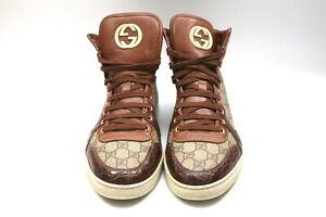 Men-039-s-Gucci-Brown-Crocodile-Leather-Sneakers-Trainers-Hi-Tops-UK-9
