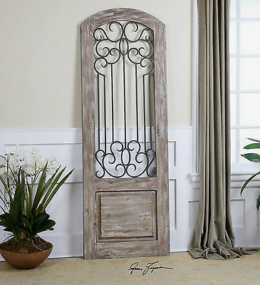 """RICH 75"""" DISTRESSED WOOD FINISH OLD DOOR STYLE WALL PANEL FORGED IRON DETAIL"""