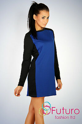 Two Colored Classic Cocktail Dress Tunic Style Boat Neck Size 8-16 PA10