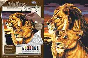LION-amp-LIONESS-PRIDE-AT-SUNSET-PAINTING-ACRYLIC-PAINT-BY-NUMBERS-BOX-CANVAS-PCS3