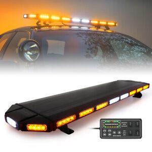 "Xprite 48"" Amber LED Strobe Light Bar Rooftop Emergency Warning Control Panel"