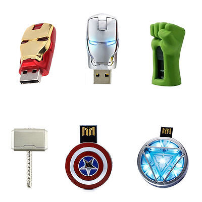 USB 2.0 Flash Memory Drive 4/8/16/32 GB Iron Man Marvel Avengers Hammer America
