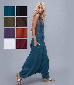 cc835483d0e Image is loading Harem-Jumpsuit-loose-Overalls -dungarees-cotton-Boho-Aladdin-