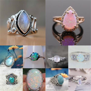 Women-Man-925-Silver-Ring-Moon-Stone-White-Fire-Opal-Wedding-Engagement-Size6-10