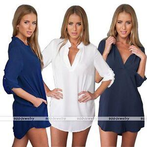 Rare-Womens-Custom-Fit-Long-Sleeve-Chiffon-Casual-Shirt-Tops-V-Neck-Dress-Blouse
