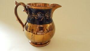 Copper-lustre-vintage-Victorian-antique-blue-band-jug