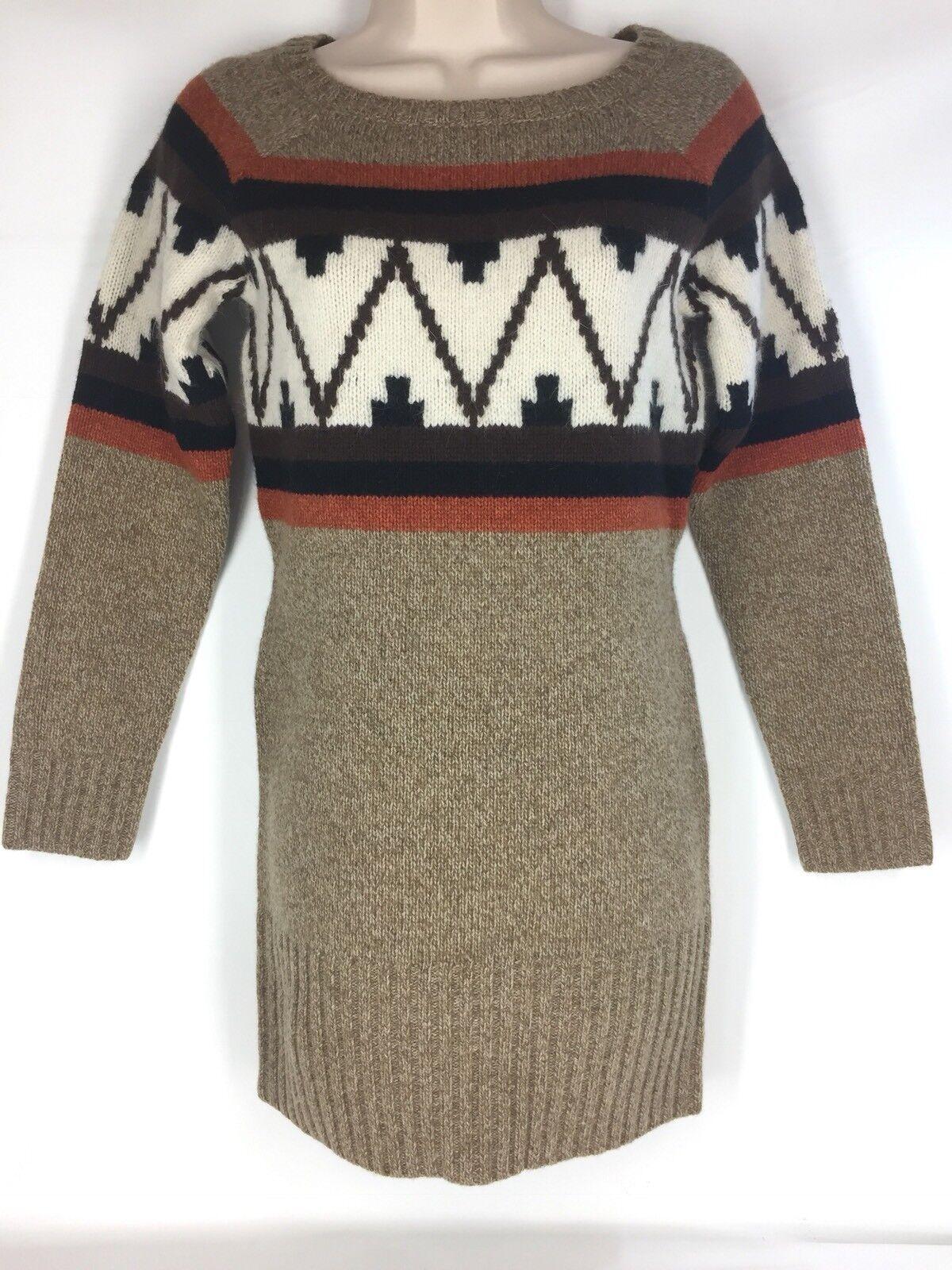 Roja Mayan Long Snowflake Lambswool Sweater XL Extra-Large Brown Tribal Wool