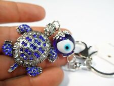 BLUE Key Chain Ring Evil Eye Feng Shui Bead Turkish Good Lucky Charm Turtle #a