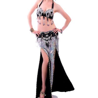 A005 Professionale Danza Del Ventre Costume 3 Pezzi Reggiseno Cintura Rock Narnia Serie- Ulteriori Sorprese