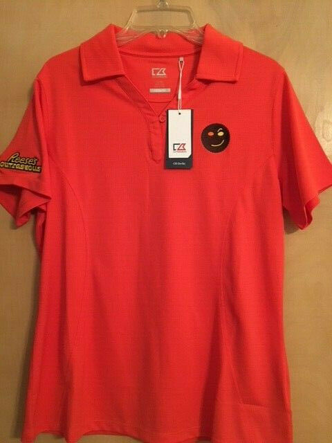 Womens Reese's Peanut Butter Cup orange Polo Shirt NWT - Size L - Outrageous