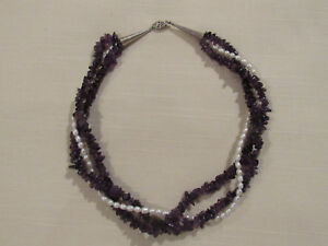 Vintage-Artisan-Sterling-Silver-Purple-Quartz-Pearl-Multi-Strand-Choker-Necklace