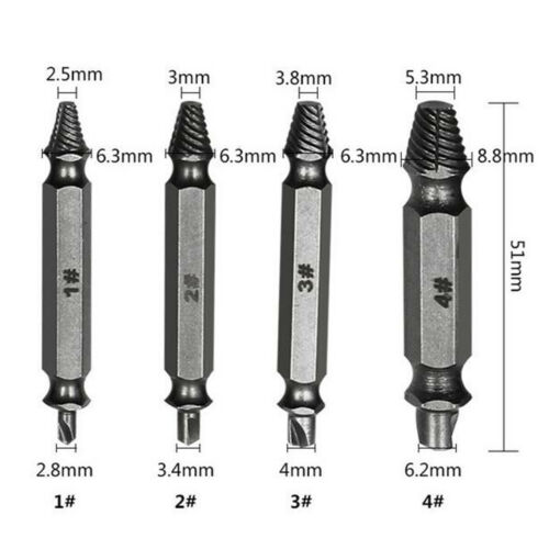 4PCS Broken Damaged Bolt Remover Speed Out Screw Extractor Drill Bits Guide Set