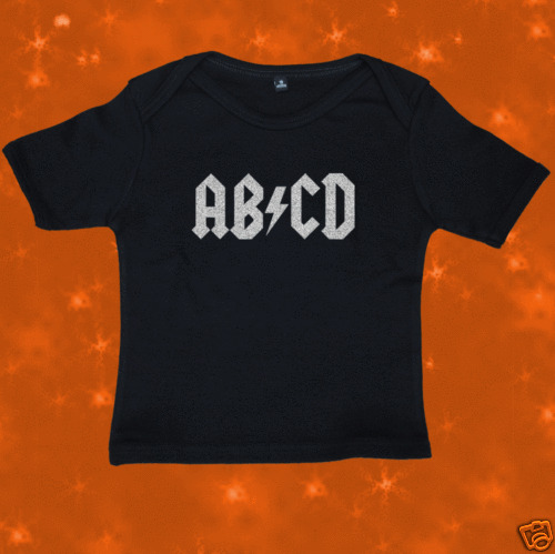 Funny Rock AC//DC AB//CD FAIRTRADE Baby T-Shirt 6-12 Mths